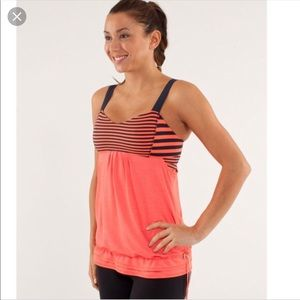 Lululemon Run Back on Track Tank Orange Navy Sz 8
